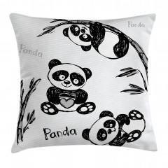 Bebek Panda Desenli Yastık Kırlent Kılıfı