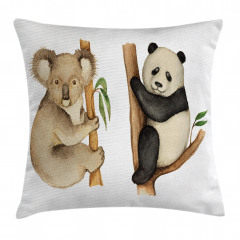 Sevimli Koala ve Panda Yastık Kırlent Kılıfı