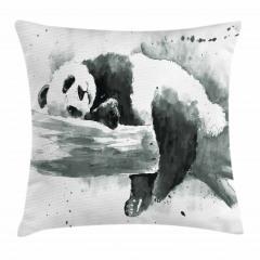 Uyuyan Panda Desenli Yastık Kırlent Kılıfı