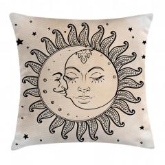 Güneş Ay ve Yıldızlar Yastık Kırlent Kılıfı