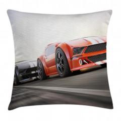 Yarış Arabası Desenli Yastık Kırlent Kılıfı