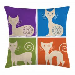 Sevimli Rengarenk Kedi Yastık Kırlent Kılıfı
