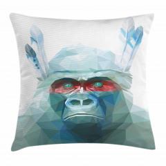 Mavi Kristal Maymun Yastık Kırlent Kılıfı