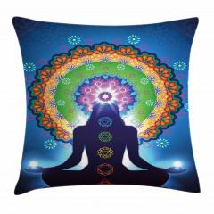 Meditasyon ve Çiçek Yastık Kırlent Kılıfı