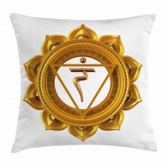 Hint Etkili Altın Lotus Yastık Kırlent Kılıfı