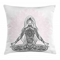 Meditasyon Pembe Lotus Yastık Kırlent Kılıfı