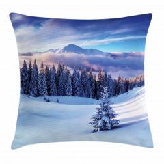 Karlı Dağlar ve Ağaçlar Yastık Kırlent Kılıfı