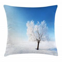 Karlı Yalnız Ağaç Yastık Kırlent Kılıfı