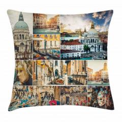 Venedik Desenli Yastık Kırlent Kılıfı