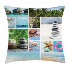 Egzotik Tatil Desenli Yastık Kırlent Kılıfı