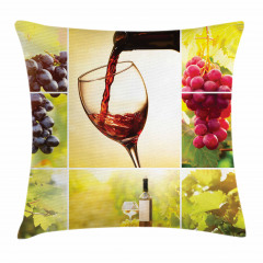 Üzüm ve Şarap Desenli Yastık Kırlent Kılıfı