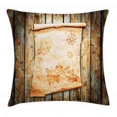 Antik Harita Desenli Yastık Kırlent Kılıfı