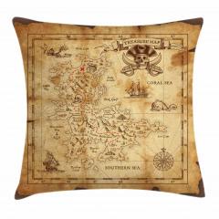 Korsan Haritası Temalı Yastık Kırlent Kılıfı