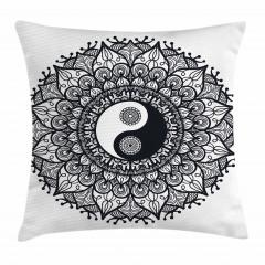 Yin Yangli Mandala Yastık Kırlent Kılıfı