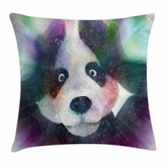 Panda ve Işık Hüzmesi Yastık Kırlent Kılıfı