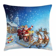 Noel Baba ve Geyik Yastık Kırlent Kılıfı
