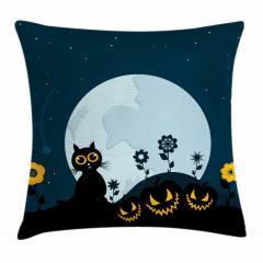 Kedi ve Ay Desenli Yastık Kırlent Kılıfı