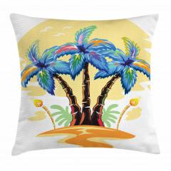 Palmiye Desenli Yastık Kırlent Kılıfı