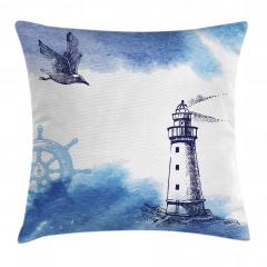 Martı ve Deniz Feneri Yastık Kırlent Kılıfı