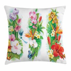 Tropikal Renkli Çiçek Yastık Kırlent Kılıfı