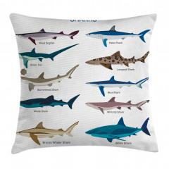 Köpek Balıkları Desenli Yastık Kırlent Kılıfı