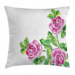 Pembe Güller Romantik Yastık Kırlent Kılıfı