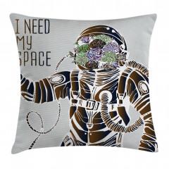 Astronot ve Çiçek Yastık Kırlent Kılıfı