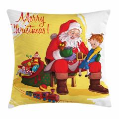 Noel Baba ve Kız Yastık Kırlent Kılıfı