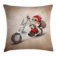 Motorcu Noel Baba Yastık Kırlent Kılıfı