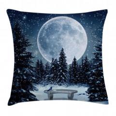 Karlı Orman ve Ay Yastık Kırlent Kılıfı