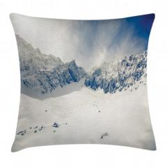 Karlı Dağ Desenli Yastık Kırlent Kılıfı