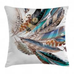 Kuş Tüyü Desenli Yastık Kırlent Kılıfı