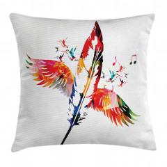 Kırmızı Kuş Tüyü Yastık Kırlent Kılıfı