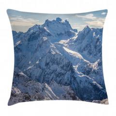 Karlı Dağ Manzaralı Yastık Kırlent Kılıfı