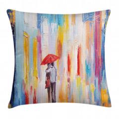 Yağmurda Yürüyen Aşık Yastık Kırlent Kılıfı
