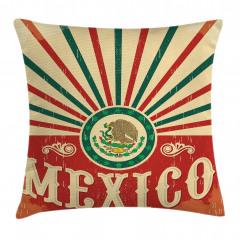 Meksika Bayrağı Desenli Yastık Kırlent Kılıfı