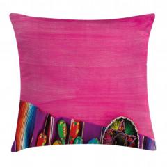Sulu Boya Pembe Desenli Yastık Kırlent Kılıfı