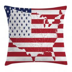 ABD Bayrağı ve Harita Yastık Kırlent Kılıfı