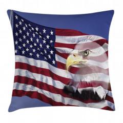 Kartal ve ABD Bayrağı Yastık Kırlent Kılıfı