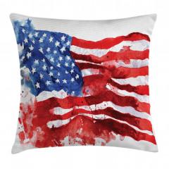 Sulu Boya ABD Bayrağı Yastık Kırlent Kılıfı