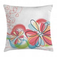 Çiçek ve Kalp Desenli Yastık Kırlent Kılıfı