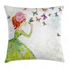 Kelebek ve Kız Desenli Yastık Kırlent Kılıfı