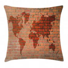 Dünya Haritası Desenli Yastık Kırlent Kılıfı