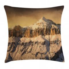Karlı Kayalık Dağ Yastık Kırlent Kılıfı