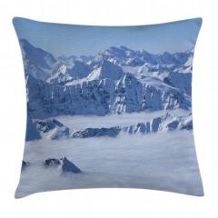 Karlı ve Sisli Dağlar Yastık Kırlent Kılıfı