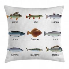 Balık Türleri Desenli Yastık Kırlent Kılıfı