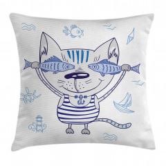 Sevimli Kedi ve Balık Yastık Kırlent Kılıfı