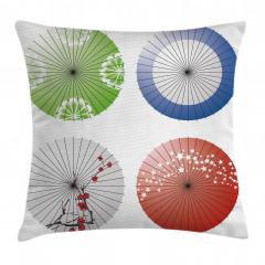 Japon Şemsiyesi Desenli Yastık Kırlent Kılıfı
