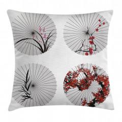 Çiçekli Şemsiye Desenli Yastık Kırlent Kılıfı
