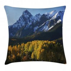Sonbaharda Karlı Dağlar Yastık Kırlent Kılıfı